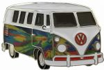 VW Pyschedelic Flames Campervan Officially Licensed Belt Buckle with display stand and presentation box. Code VWVAN05